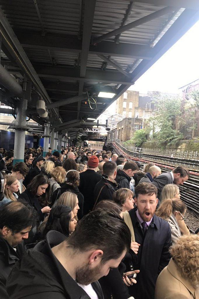 Severe delays: A person fell ill on a train at Whitechapel on Monday morning. (@SJNeve - Daily Mail)
