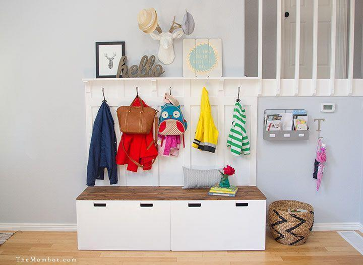 """<p>The secret to an organized home is never believing you have enough <a href=""""https://www.housebeautiful.com/home-remodeling/diy-projects/how-to/g2037/diy-storage-solutions/"""" rel=""""nofollow noopener"""" target=""""_blank"""" data-ylk=""""slk:storage"""" class=""""link rapid-noclick-resp"""">storage</a>. Here, two storage benches serve an even greater purpose with the addition of coat and bag hooks, and a ledge shelf up top for art.</p><p>Get the tutorial at <a href=""""http://themombot.com/crafting/2015/06/25/ikea-hack-diy-mudroom-benches/"""" rel=""""nofollow noopener"""" target=""""_blank"""" data-ylk=""""slk:The Mombot"""" class=""""link rapid-noclick-resp"""">The Mombot</a>.</p><p><a class=""""link rapid-noclick-resp"""" href=""""https://go.redirectingat.com?id=74968X1596630&url=https%3A%2F%2Fwww.ikea.com%2Fus%2Fen%2Fcat%2Fstuva-system-18836%2F&sref=https%3A%2F%2Fwww.countryliving.com%2Fhome-maintenance%2Fg37186772%2Fentryway-ikea-hacks%2F"""" rel=""""nofollow noopener"""" target=""""_blank"""" data-ylk=""""slk:SHOP STUVA SYSTEMS"""">SHOP STUVA SYSTEMS</a> <strong><em>Stuva </em></strong><em><strong>Storage Bench parts, various prices</strong></em><br></p>"""