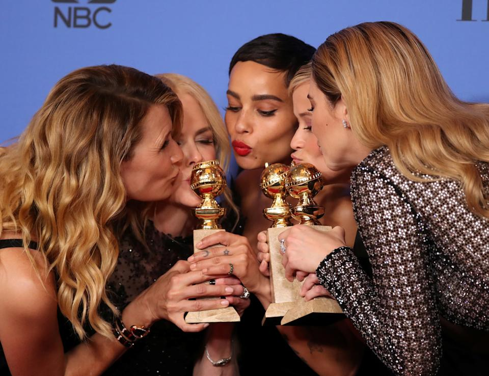 75th Golden Globe Awards – Photo Room – Beverly Hills, California, U.S., 07/01/2018 – (L-R) Laura Dern, Nicole Kidman, Zoe Kravitz, Reese Witherspoon and Shailene Woodley pose backstage after winning the award for Best Television Limited Series or Motion Picture Made for Television for