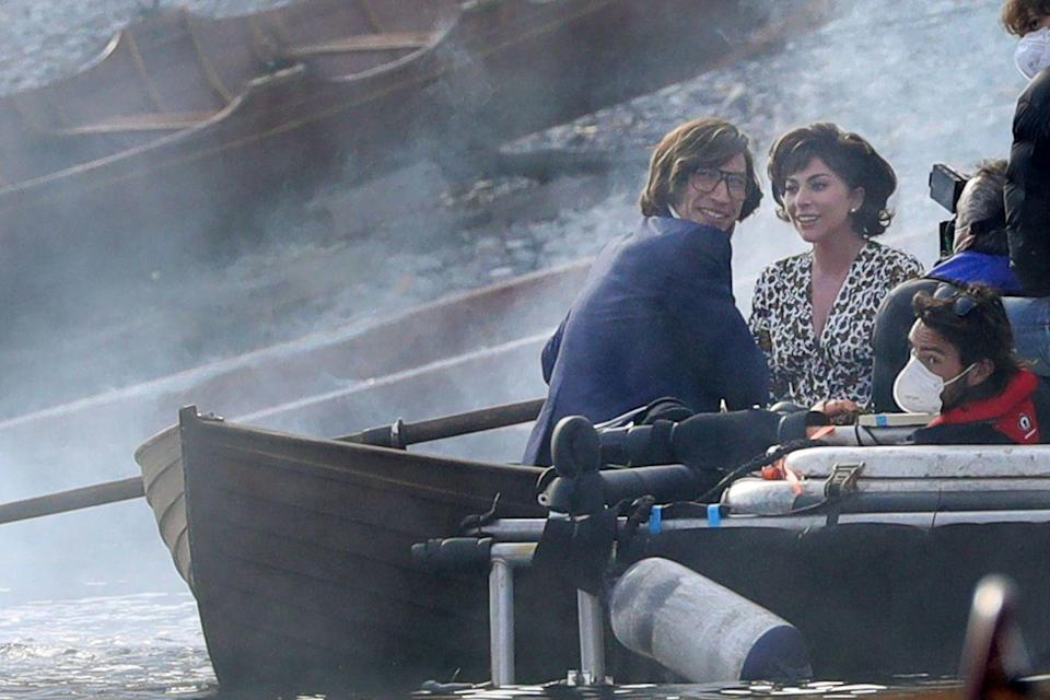 <p>Driver and Gaga filming on Lake Como.</p>