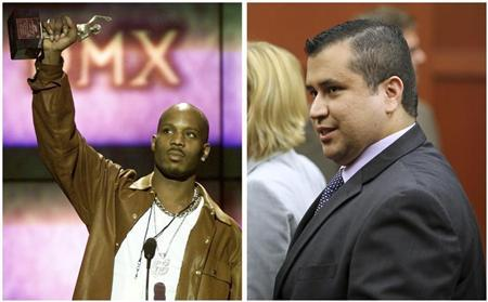 A combination photo shows rapper DMX and George Zimmerman