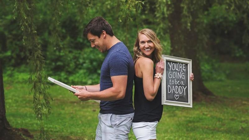Wife Surprises Husband With Birth Announcement During Adorable Photoshoot