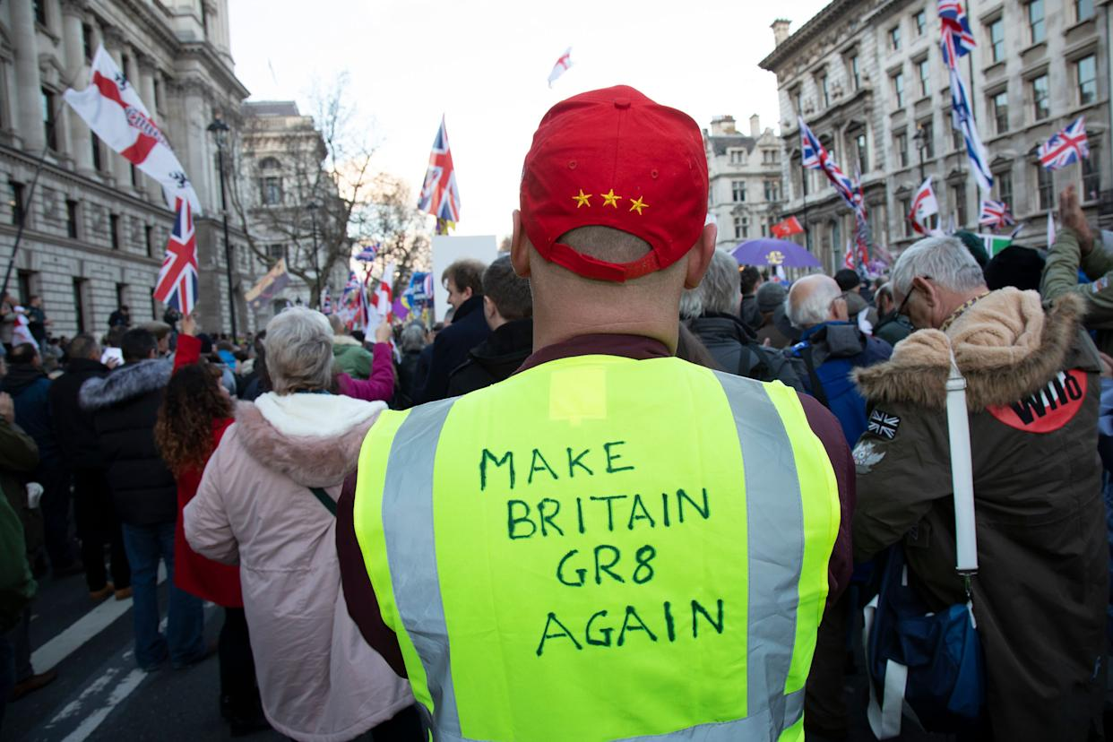 "A scene from a ""Brexit Betrayal March"" organized by the UK Independence Party in December 2018. (Photo: Mike Kemp via Getty Images)"