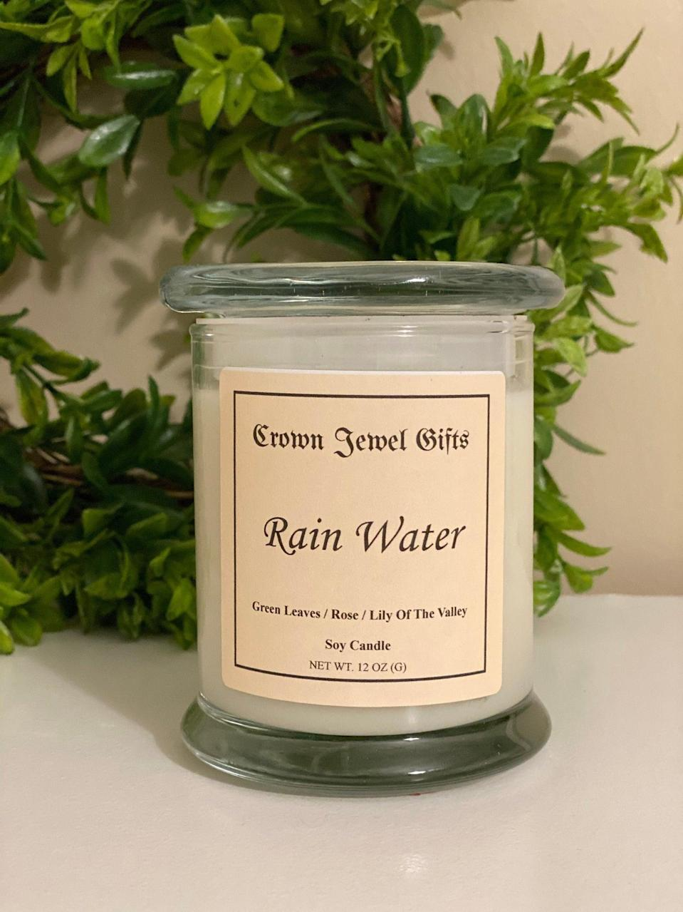 "<h2>Rain Water Scented Candle</h2><br>Set the seasonal mood and embrace the romance of a rainy afternoon with this fresh, scented candle. <br><br><em>Shop <strong><a href=""https://www.etsy.com/shop/CrownJewelGifts"" rel=""nofollow noopener"" target=""_blank"" data-ylk=""slk:Crown Jewel Gifts"" class=""link rapid-noclick-resp"">Crown Jewel Gifts</a></strong></em><br><br><strong>CrownJewelGifts</strong> Rain Water Scented Candle, $, available at <a href=""https://go.skimresources.com/?id=30283X879131&url=https%3A%2F%2Fwww.etsy.com%2Flisting%2F790645129%2Frain-water"" rel=""nofollow noopener"" target=""_blank"" data-ylk=""slk:Etsy"" class=""link rapid-noclick-resp"">Etsy</a>"