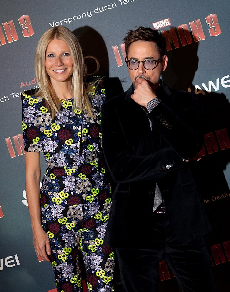 PARIS, FRANCE - APRIL 14: Actors Gwyneth Paltrow (L) and Robert Downey Jr. (R) pose during the 'Iron Man 3' photocall at Le Grand Rex on April 14, 2013 in Paris, France.