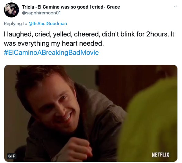 Fans praise 'El Camino: A Breaking Bad Movie' (Courtesy: @sapphiremoon01 / Twitter)