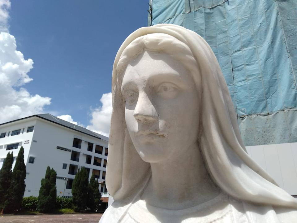A Statue of the Virgin Mary in the church courtyard. (Facebook: Church Of The Nativity Of The Blessed Virgin Mary)