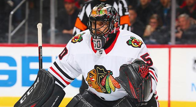 "Is <a class=""link rapid-noclick-resp"" href=""/nhl/players/3390/"" data-ylk=""slk:Corey Crawford"">Corey Crawford</a> the league MVP? (Photo by Andy Marlin/NHLI via Getty Images)"
