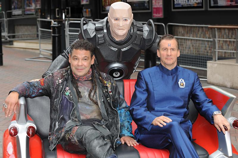 LONDON, ENGLAND - OCTOBER 03: (L-R) Craig Charles as Dave Lister, Robert Llewellyn as Kryten and Chris Barrie as Arnold Rimmer attend a photocall for the return of Red Dwarf with a new six-part series 'Red Dwarf X' on October 3, 2012 in London, England. (Photo by Stuart Wilson/Getty Images)