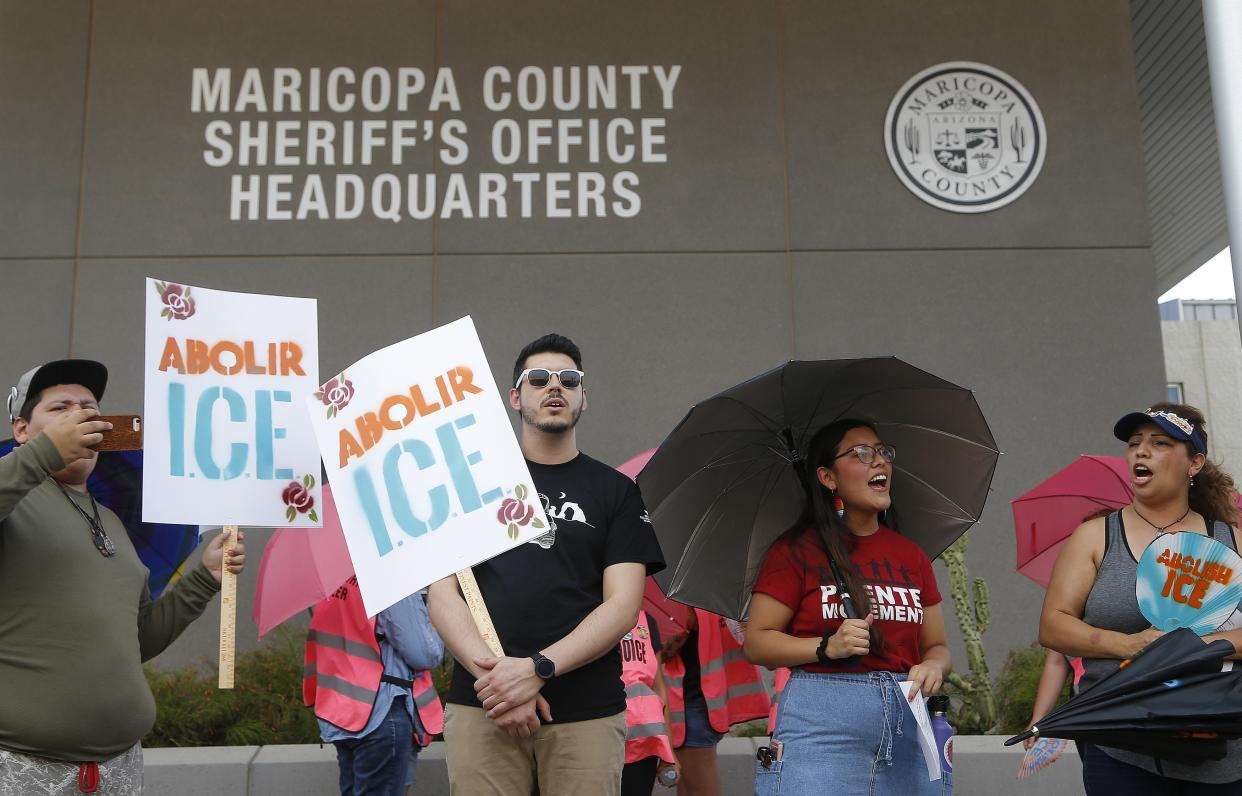 Activists protesting the policies of Immigration and Customs Enforcement in Phoenix last year. (Photo: Ross D. Franklin/AP)