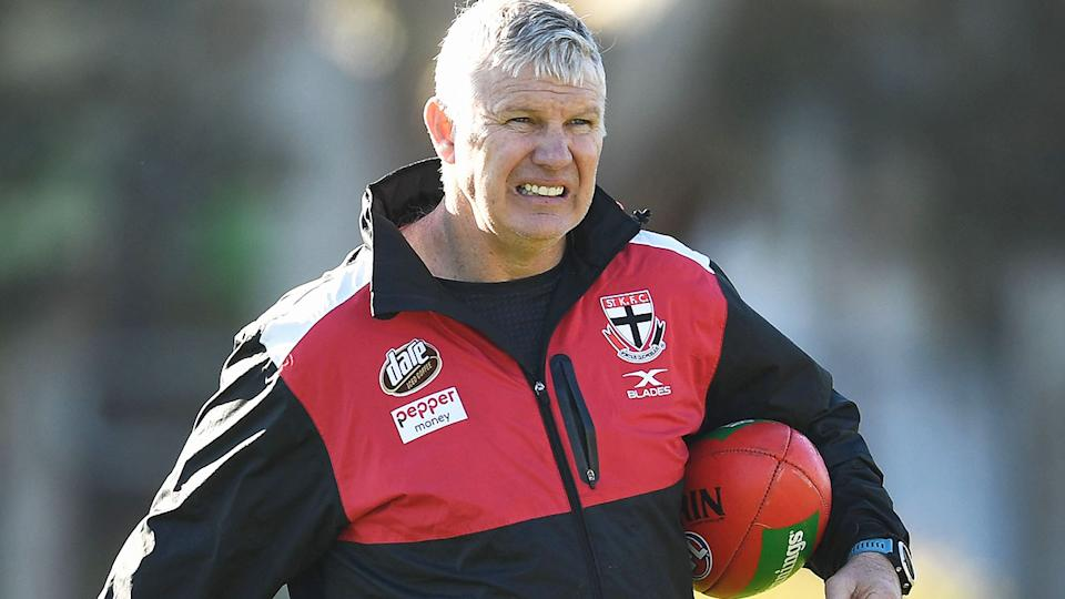 Danny Frawley, pictured here during a St Kilda training session in 2017.