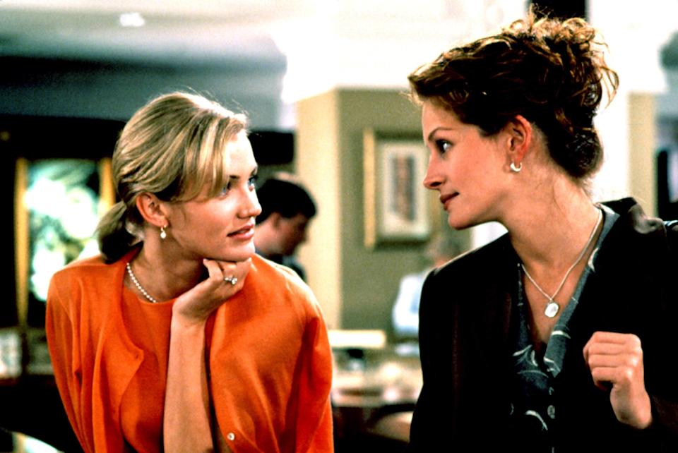 "<p>Upon learning that her best friend Michael (Dermot Mulroney) is getting married—to Cameron Diaz's bubbly Kimmy, no less—Julianne (Julia Roberts) realizes she's in love with him and tries to sabotage the engagement. Not the nicest premise for a romantic comedy, which is why it was a brilliant move to cast Roberts, America's sweetheart, as the lead.</p> <p><em>Available to rent on</em> <a href=""https://www.amazon.com/My-Best-Friends-Wedding-Hogan/dp/B000I9U77O/"" rel=""nofollow noopener"" target=""_blank"" data-ylk=""slk:Amazon Prime Video"" class=""link rapid-noclick-resp""><em>Amazon Prime Video</em></a><em>.</em></p>"
