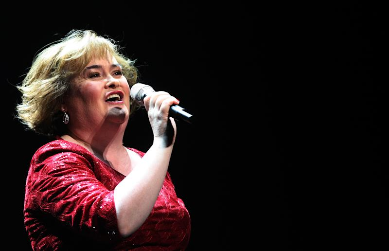 """In this Tuesday, March 27, 2012 file photo, Susan Boyle performs during her musical 'I Dreamed A Dream' at the Theatre Royal in Newcastle, England. But what happened next for Susan Boyle? The middle-aged church volunteer from a small town in Scotland became an instant global celebrity in 2009 with her heart-stopping rendition of the """"Les Miserables"""" number """"I Dreamed a Dream"""" on a TV talent show. A week is a long time in showbiz _ and in our hyper-speed online age three and a half years is an eternity _ but Boyle is still going strong. She has sold millions of records, received an honorary doctorate, sung for Pope Benedict XVI and performed in Las Vegas. A stage musical about her life has played to enthusiastic crowds across Britain and is headed for Australia, and next month she releases her fourth album, """"Standing Ovation."""" (AP Photo/Scott Heppell, File)"""