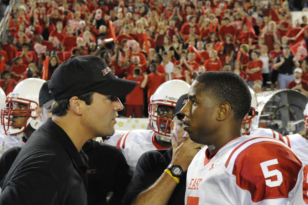 "FRIDAY NIGHT LIGHTS -- ""Always"" Episode 513 -- Pictured: (l-r) Kyle Chandler as Coach Eric Taylor, Michael B. Jordan as Vince Howard -- Photo by: Bill Records/NBC"