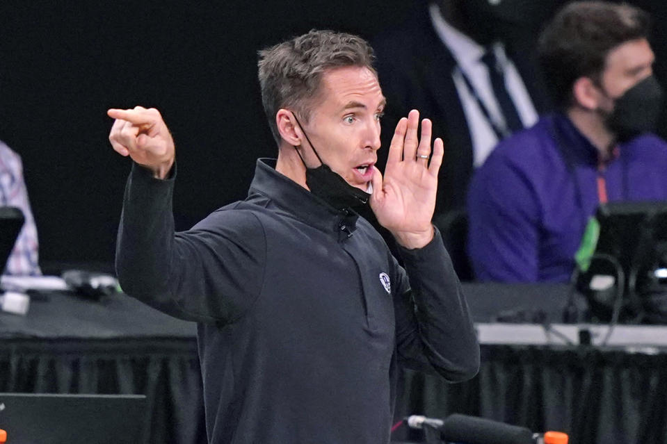 Brooklyn Nets head coach Steve Nash yells to his players during the fourth quarter of an NBA basketball game against the Phoenix Suns, Sunday, April 25, 2021, in New York. The Net defeated the Suns 128-119. (AP Photo/Kathy Willens)