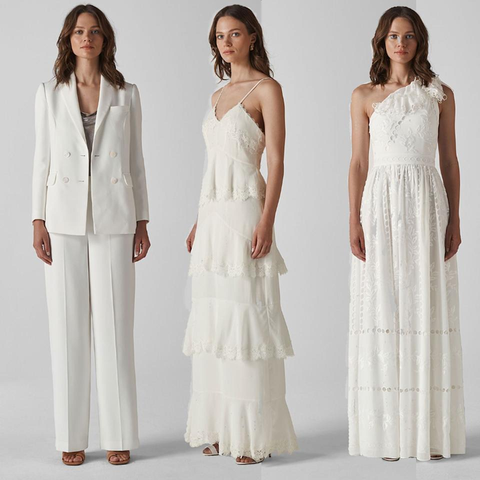 """<p><a href=""""https://www.whistles.com/women/whistles-wedding/wedding-dresses/"""" target=""""_blank"""">Whistles</a>' bridal line first launched in 2017, and it's gone from strength to strength. In fact, we think their 2019 collection might just be the best yet. From white power suits to delicate lace and classic silhouettes, no-one will ever guess you paid high street prices.<br></p><p>(L) Annie blazer, £299, <a class=""""body-btn-link"""" href=""""https://www.whistles.com/women/whistles-wedding/wedding-dresses/annie-wedding-blazer-29556.html?cgid=Bridal_Wedding_WW&dwvar_annie-wedding-blazer-29556_color=Ivory%2FMulti"""" target=""""_blank"""">BUY NOW</a></p><p>Annie trousers, £229, <a class=""""body-btn-link"""" href=""""https://www.whistles.com/women/new-in/annie-wedding-trouser-29557.html?dwvar_annie-wedding-trouser-29557_color=Ivory%2FMulti"""" target=""""_blank"""">BUY NOW</a></p><p>(M) Isla tiered dress, £649, <a class=""""body-btn-link"""" href=""""https://www.whistles.com/women/whistles-wedding/wedding-dresses/isla-tiered-wedding-dress-27304.html?cgid=Bridal_Wedding_WW&dwvar_isla-tiered-wedding-dress-27304_color=Ivory"""" target=""""_blank"""">BUY NOW</a></p><p>(R) Adelaide dress, £699, <a class=""""body-btn-link"""" href=""""https://www.whistles.com/women/whistles-wedding/wedding-dresses/adelaide-wedding-dress-29581.html?cgid=Bridal_Wedding_WW&dwvar_adelaide-wedding-dress-29581_color=Ivory%2FMulti#start=0"""" target=""""_blank"""">BUY NOW</a></p>"""