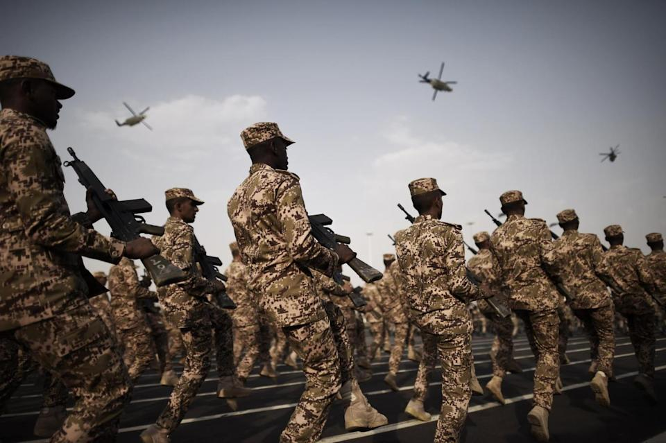 Members of a Saudi armed unit during a parade in Mecca (Getty Images)