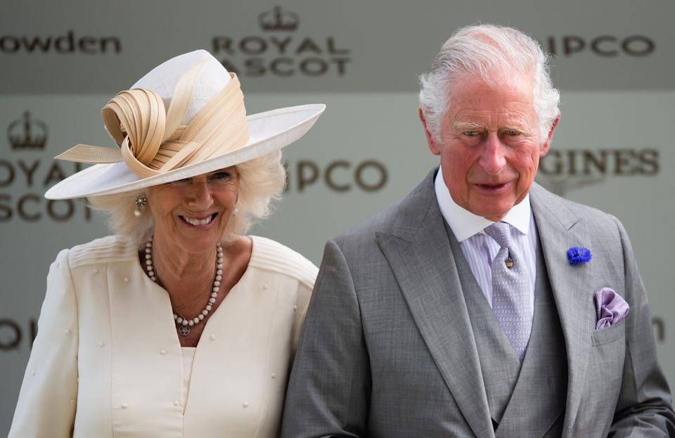 ASCOT, ENGLAND - JUNE 16: Camilla, Duchess of Cornwall and Prince Charles, Prince of Wales attend Royal Ascot 2021 at Ascot Racecourse on June 16, 2021 in Ascot, England. (Photo by Samir Hussein/WireImage)