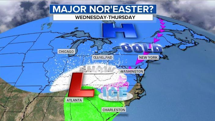 Depiction of Wednesday morning as snow develops over Kentucky and the Appalachians. The storm will start as ice in parts of North Carolina and Virginia before changing to rain later Wednesday. / Credit: CBS News