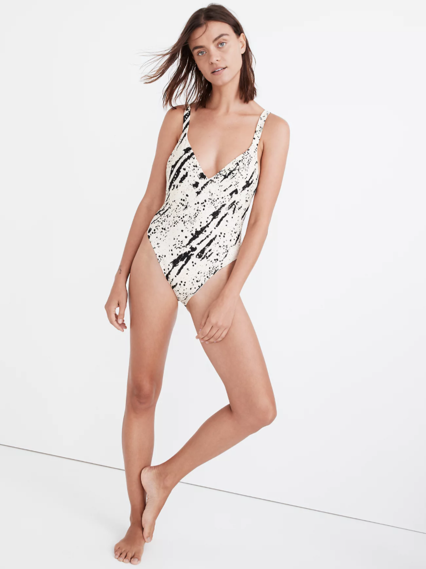 """<br><br><strong>Madewell</strong> Maillot One-Piece Swimsuit in Speckled Tiger, $, available at <a href=""""https://go.skimresources.com/?id=30283X879131&url=https%3A%2F%2Fwww.madewell.com%2Fmadewell-second-wave-maillot-one-piece-swimsuit-in-speckled-tiger-MD397.html"""" rel=""""nofollow noopener"""" target=""""_blank"""" data-ylk=""""slk:Madewell"""" class=""""link rapid-noclick-resp"""">Madewell</a>"""