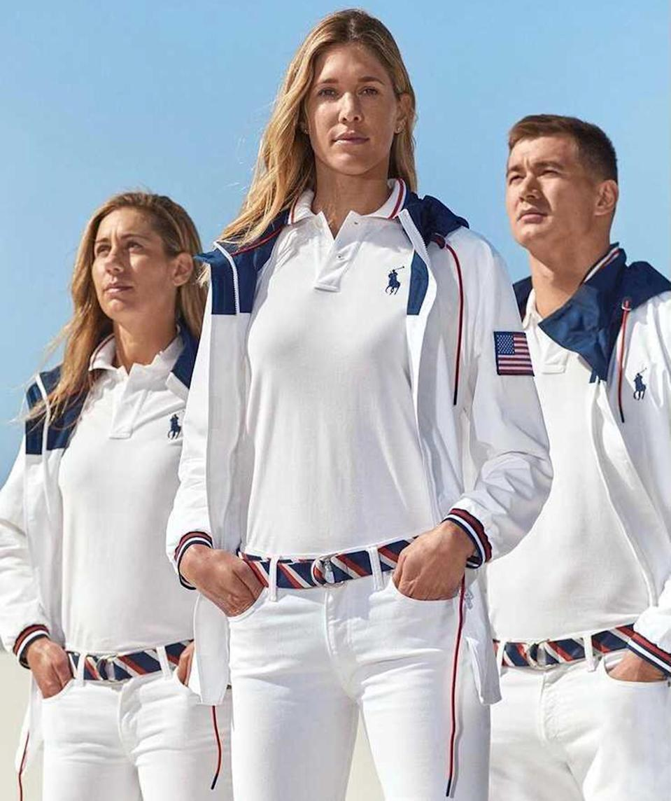 <p>Ralph Lauren changed up the business casual Olympic uniforms for this year's games. Team USA will wear traditional white Ralph Lauren polos (does anyone do a polo shirt better than Lauren?), white pants, a red, white and blue belt and a white hooded jacket with the American flag on the arm to the closing ceremony. The opening ceremony outfits will be unveiled in July. </p>