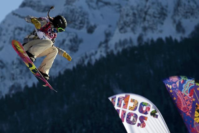 Karly Shorr from the U.S. performs a jump during the women's snowboard slopestyle qualifying session at the 2014 Sochi Olympic Games in Rosa Khutor February 6, 2014. REUTERS/Dylan Martinez (RUSSIA - Tags: SPORT SNOWBOARDING OLYMPICS)
