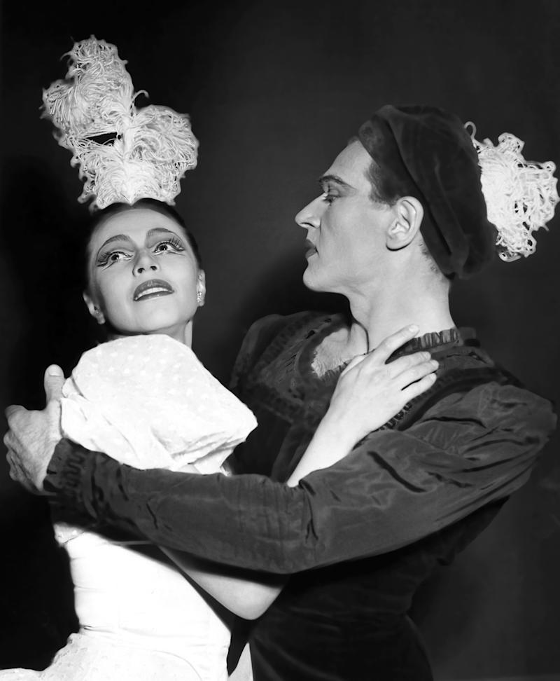 """FILE - This May 16, 1952 file photo shows dancers Maria Tallchief, left, and Andre Eglevsky in the first performance of a new ballet, """"Caracole,"""" by the New York City Ballet in Paris. Tallchief died Thursday, April 11, 2013, in Chicago at the age of 88. She joined the company that would become the New York City Ballet in 1948 and was married for a time to George Balanchine, who founded the School of American Ballet in New York. Tallchief worked with Balanchine on such masterpieces as 1949's """"Firebird"""" and his now-historic version of """"The Nutcracker."""" (AP Photo, file)"""