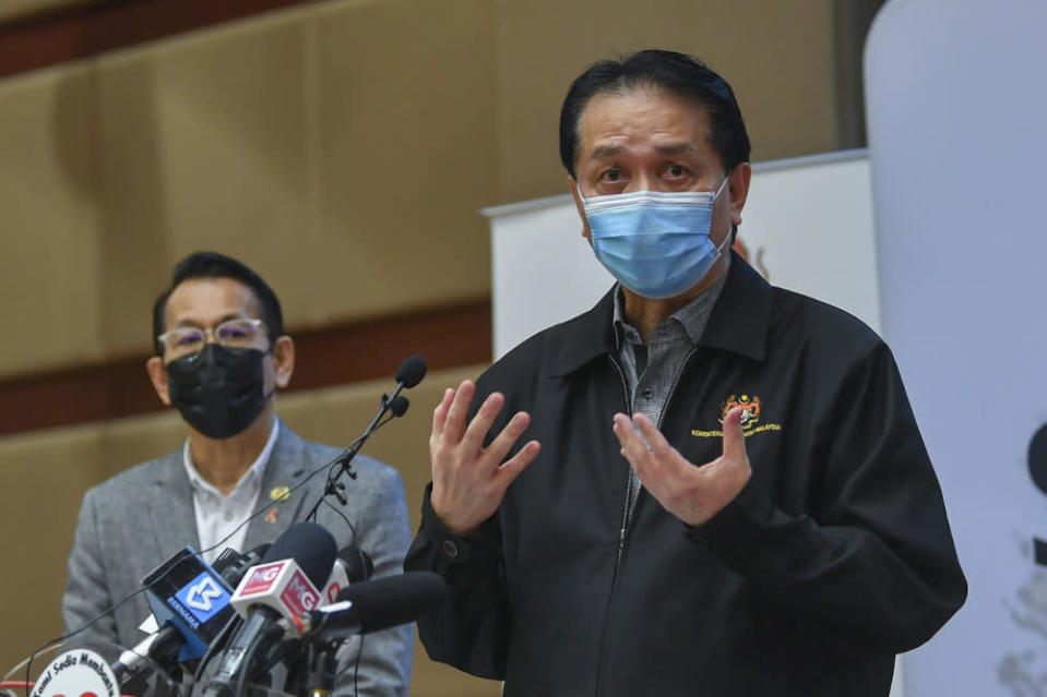 Health director-general Tan Sri Dr Noor Hisham Abdullah during a press conference reporting the daily update on the country's Covid-19 situation at the Ministry of Health, May 8, 2021. — Bernama pic