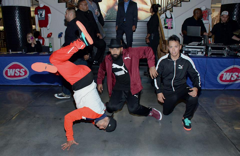 Breakdancers perform at the party at the WSS Event at the new Downtown LA WSS Store.