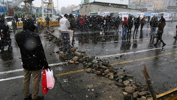 PHOTO: A road is blocked by protestors after authorities raised gasoline prices, in Tehran, Iran, Saturday, Nov. 16, 2019. (Majid Khahi/ISNA via AP)