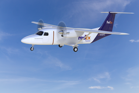 An artist rendering of a FedEx Cessna SkyCourier 408 aircraft.