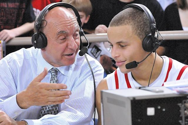 Stephen Curry talks with ESPN's Dick Vitale after a Davidson game in 2009. (Getty file photo)