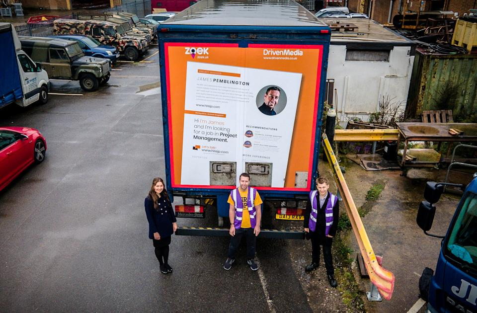James Pemblington was offered a job after putting his CV on the back of a lorry. (SWNS)