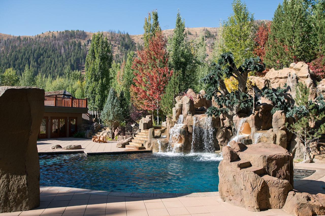 <p>It has a heated pool with water slides and waterfall features. He also added streams and ponds to the property.</p>