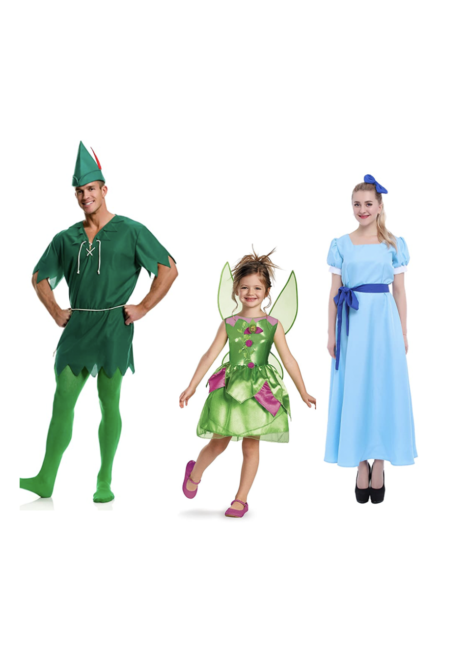 """<p>This costume is perfect for families or a trio of besties. With a little bit of creativity — or some pixie dust — you could even DIY it. </p><p><a class=""""link rapid-noclick-resp"""" href=""""https://www.amazon.com/Largemouth-Unisex-Peter-Pan-Costume/dp/B0147LJK6M/?tag=syn-yahoo-20&ascsubtag=%5Bartid%7C10055.g.28073110%5Bsrc%7Cyahoo-us"""" rel=""""nofollow noopener"""" target=""""_blank"""" data-ylk=""""slk:SHOP PETER PAN COSTUME"""">SHOP PETER PAN COSTUME</a></p><p><a class=""""link rapid-noclick-resp"""" href=""""https://www.amazon.com/Disney-Fairies-Tinker-Classic-Costume/dp/B00CF0MG46/?tag=syn-yahoo-20&ascsubtag=%5Bartid%7C10055.g.28073110%5Bsrc%7Cyahoo-us"""" rel=""""nofollow noopener"""" target=""""_blank"""" data-ylk=""""slk:SHOP TINKERBELL COSTUME"""">SHOP TINKERBELL COSTUME</a></p><p><a class=""""link rapid-noclick-resp"""" href=""""https://www.amazon.com/ROLECOS-Princess-Dresses-Halloween-Cosplay/dp/B00JR0U8BA/?tag=syn-yahoo-20&ascsubtag=%5Bartid%7C10055.g.28073110%5Bsrc%7Cyahoo-us"""" rel=""""nofollow noopener"""" target=""""_blank"""" data-ylk=""""slk:SHOP WENDY COSTUME"""">SHOP WENDY COSTUME</a></p><p><strong>RELATED:</strong> <a href=""""https://www.goodhousekeeping.com/holidays/halloween-ideas/g4771/disney-halloween-costumes/"""" rel=""""nofollow noopener"""" target=""""_blank"""" data-ylk=""""slk:40 Disney Halloween Costumes the Entire Family Will Love"""" class=""""link rapid-noclick-resp"""">40 Disney Halloween Costumes the Entire Family Will Love</a></p>"""