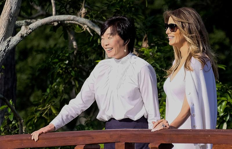Melania Trump Gives Shinzo Abe's Wife a History Lesson as President Golfs