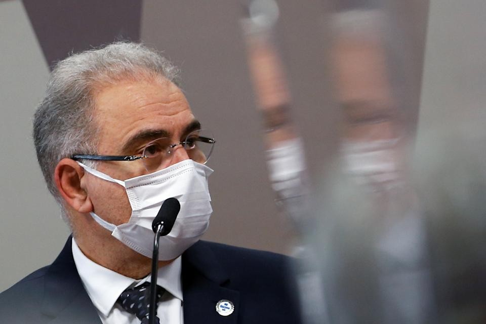 Brazil's Health Minister Marcelo Queiroga looks on during a meeting of the Parliamentary Inquiry Committee (CPI) to investigate government actions and management during the coronavirus disease (COVID-19) pandemic, at the Federal Senate in Brasilia, Brazil June 8, 2021. REUTERS/Adriano Machado