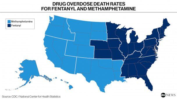 Drug Overdose Death Rates for Fentanyl and Methamphetamine (ABC News / CDC National Center for Health Statistics)