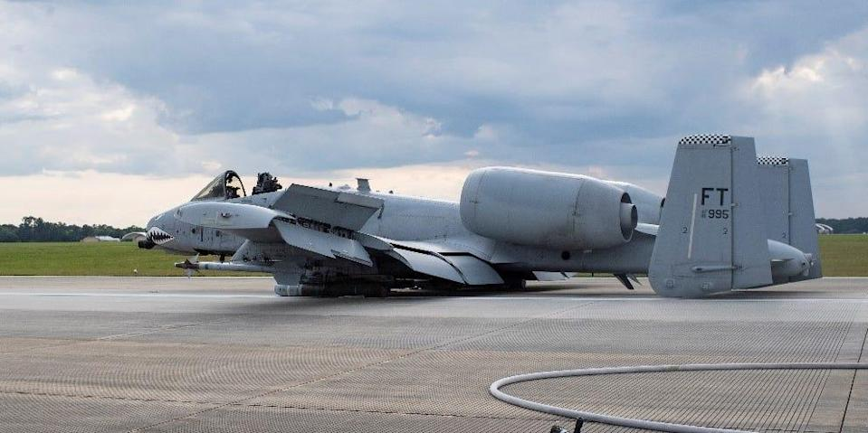 An A-10C Thunderbolt II sits on the runway after making an emergency landing April 7, 2020 at Moody Air Force Base, Georgia