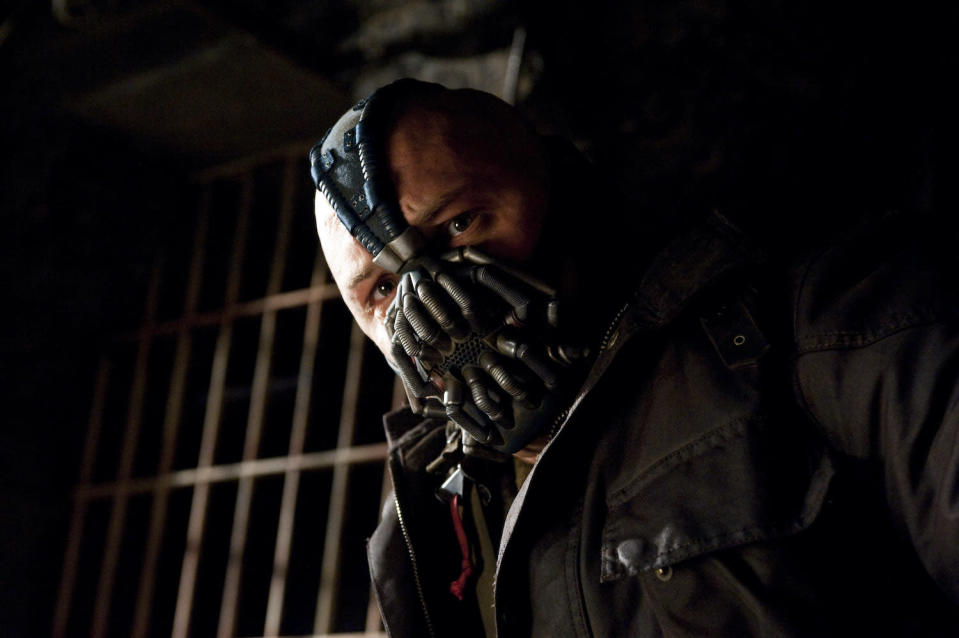 TOM HARDY as Bane in Warner Bros. Picturesí and Legendary Picturesí action thriller ìTHE DARK KNIGHT RISES,î a Warner Bros. Pictures release. TM and © DC Comics