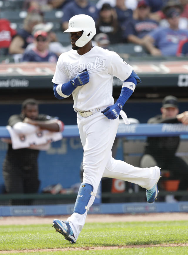 Kansas City Royals' Jorge Soler runs the bases after hitting a two-run home run in the eighth inning in a baseball game against the Cleveland Indians, Sunday, Aug. 25, 2019, in Cleveland. (AP Photo/Tony Dejak)
