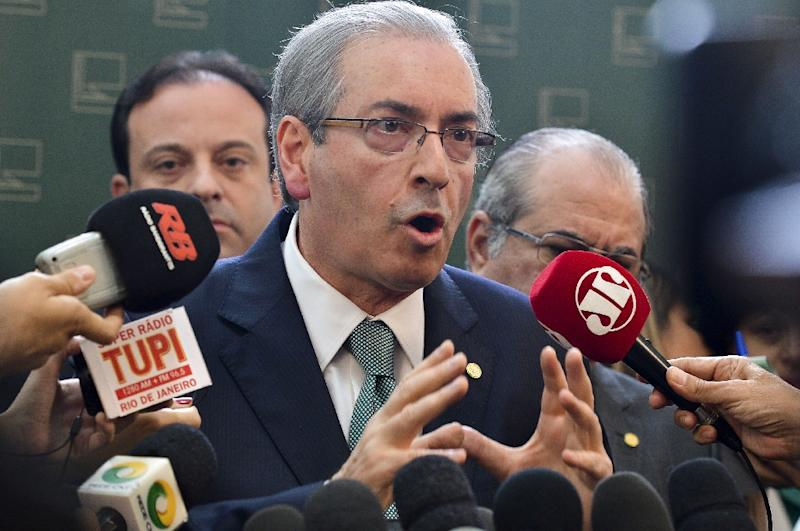 The president of the Brazilian Chamber of Deputies Eduardo Cunha, pictured on July 17, 2015, is alleged to have received payoffs relating to contracts to build two survey vessels for Petrobras (AFP Photo/Antonio Cruz)