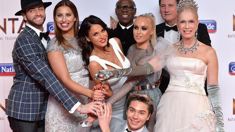 Vicky Pattison and the cast of I'm A Celebrity pose with their award for Best Entertainment Programme at the National Television Awards in 2016.