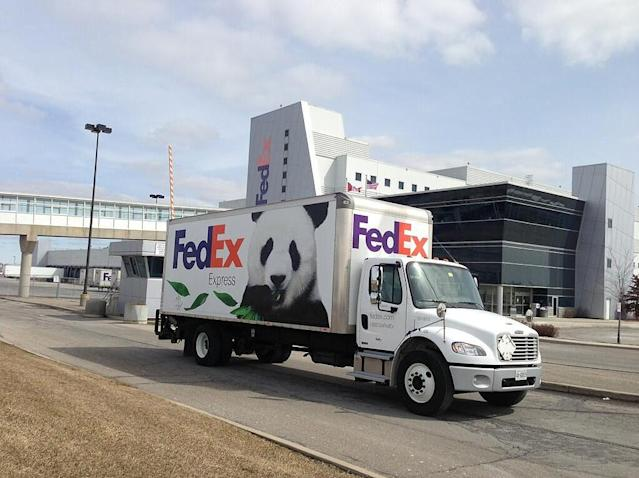 "The FedEx Panda Express truck is doing a test run in Toronto for tomorrow's <a class=""link rapid-noclick-resp"" href=""https://twitter.com/search?q=%23FedExPandas&src=hash"" rel=""nofollow noopener"" target=""_blank"" data-ylk=""slk:#FedExPandas""><s>#</s><strong>FedExPandas</strong></a> arrival. On road now! <a class=""link rapid-noclick-resp"" href=""http://t.co/fHRjxQJxBA"" rel=""nofollow noopener"" target=""_blank"" data-ylk=""slk:pic.twitter.com/fHRjxQJxBA"">pic.twitter.com/fHRjxQJxBA</a>"