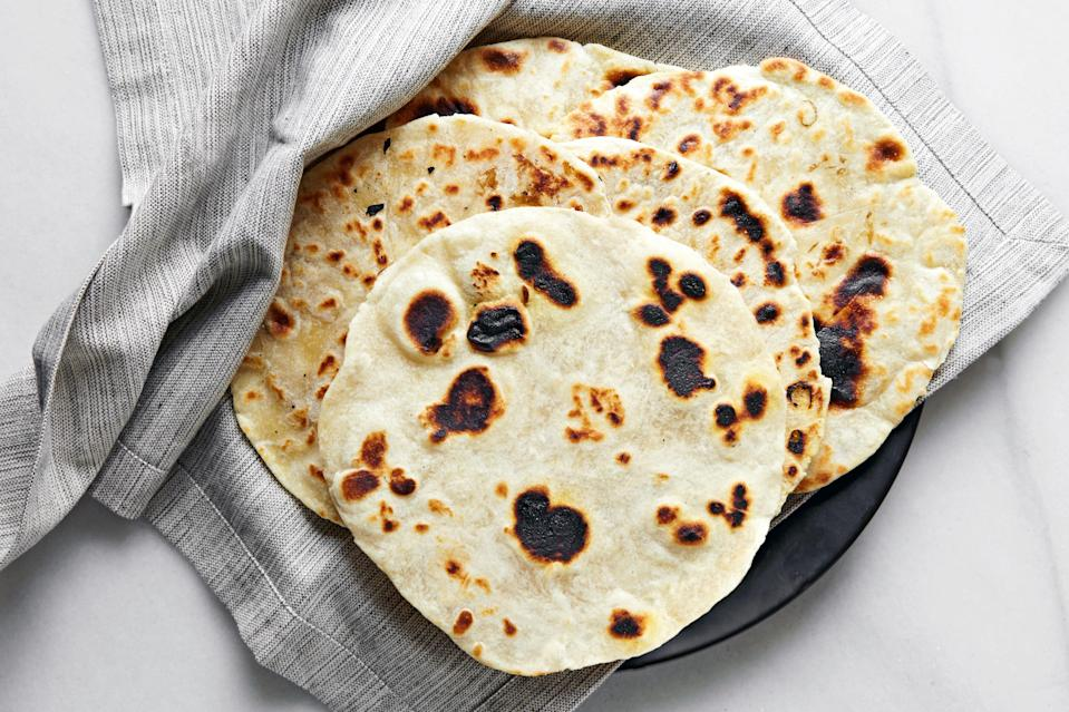 """This month we published chef Danny Mena's <a href=""""https://www.epicurious.com/expert-advice/how-to-make-flour-tortillas-homemade-danny-mena-article?mbid=synd_yahoo_rss"""" rel=""""nofollow noopener"""" target=""""_blank"""" data-ylk=""""slk:tips on making the best flour tortillas"""" class=""""link rapid-noclick-resp"""">tips on making the best flour tortillas</a>. Now, all you need to do is pick a filling. <a href=""""https://www.epicurious.com/recipes/food/views/tortillas-de-harina-flour-tortillas?mbid=synd_yahoo_rss"""" rel=""""nofollow noopener"""" target=""""_blank"""" data-ylk=""""slk:See recipe."""" class=""""link rapid-noclick-resp"""">See recipe.</a>"""