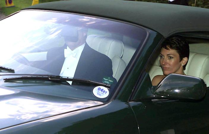 Ghislaine Maxwell with the Duke of York after a wedding in 2000. (PA Images)
