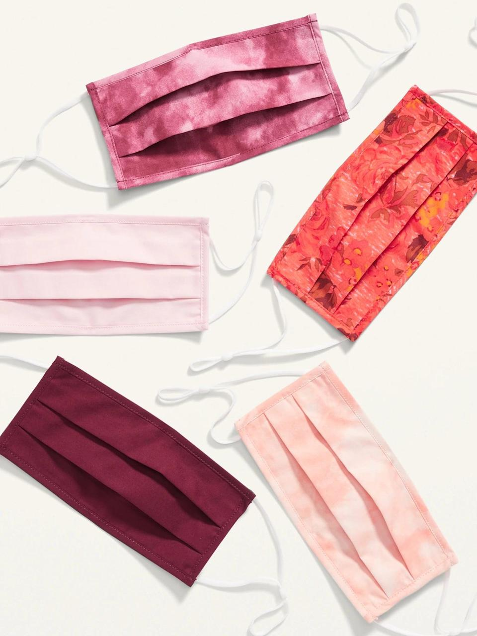 <p>The <span>Old Navy Variety 5-Pack of Triple-Layer Cloth Pleated Face Masks</span> ($13) comes in a variety of fun patterns and colors. It is soft and breathable made from three-ply, woven 100 percent cotton poplin. It even has adjustable over-the-ear straps for a secure and snug fit.</p>