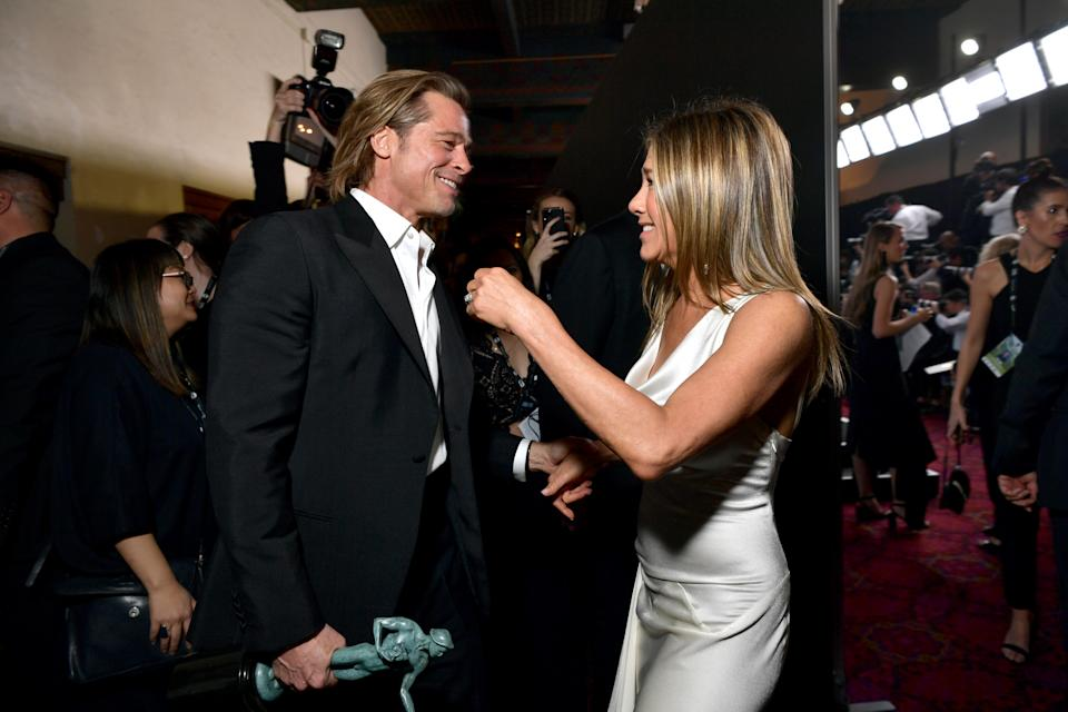 Brad Pitt and Jennifer Aniston attend the 26th Annual Screen Actors Guild Awards at The Shrine Auditorium on January 19, 2020 in Los Angeles, California