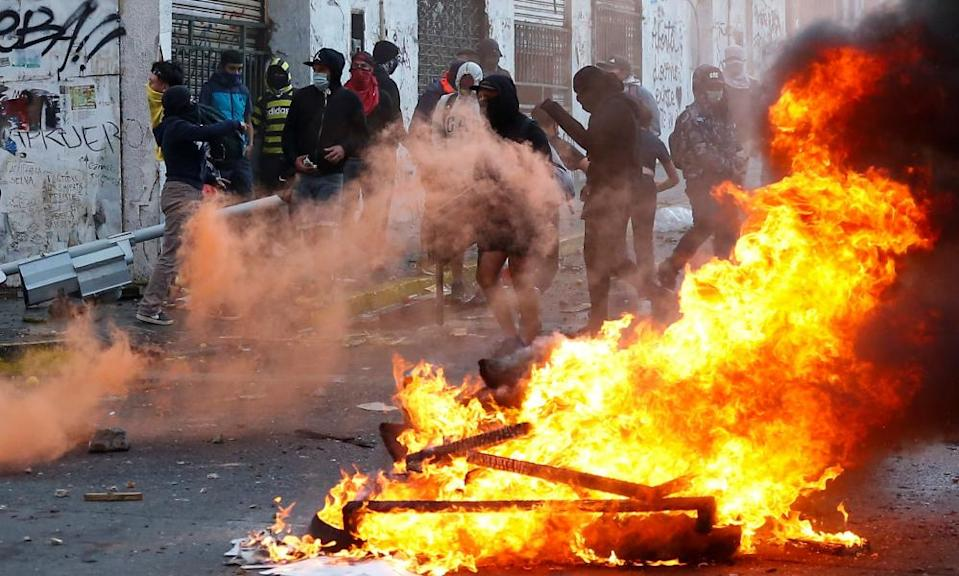 Demonstrators take part in a protest against Chile's government in Valparaiso on 19 October.