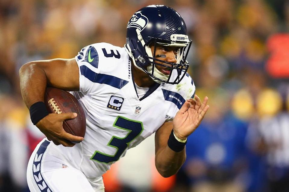 Seattle Seahawks' Russell Wilson during the game against the Green Bay Packers at Lambeau Field on September 20, 2015 in Green Bay, Wisconsin (AFP Photo/Maddie Meyer)